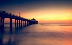 Картинка закат, Калифорния, горизонт, море, пляж, мол, Manhattan Beach