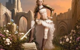 Картинка девушка, цветы, замок, камень, розы, чулки, сапоги