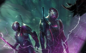 Обои фантастика, меч, арт, шлем, охота, воины, охотники