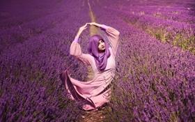 Картинка девушка, лаванды, цветы