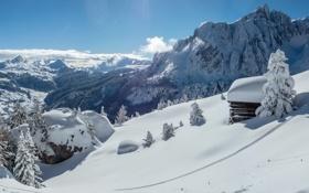 Картинка снег, пейзаж, горы, дом