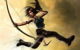 Картинка девушка, дождь, прыжок, кровь, выстрел, лук, грязь