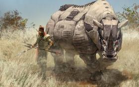 Картинка трава, механизм, робот, арт, саванна, мужчина, носорог
