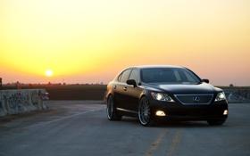 Картинка дорога, небо, солнце, закат, чёрный, Lexus, black