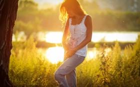 Обои лето, солнце, смех, джинсы, Соня