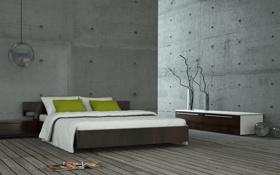 Обои комната, кровать, журналы, вазы