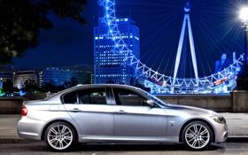 Обои sedan, серебристый, ночь, колесо обозрения, бмв, bmw, performance edition