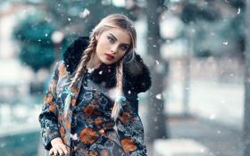 Картинка косы, губки, St Petersburg, Alessandro Di Cicco, снег, макияж
