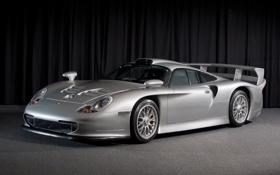 Картинка серый, фон, 911, Porsche, суперкар, порше, передок