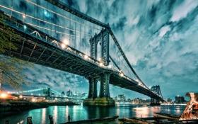 Картинка мост, город, Нью-Йорк, вечер, USA, Bridge, Brooklyn