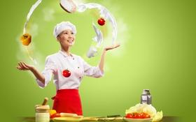 Картинка девушка, улыбка, кухня, повар, азиатка, овощи, помидоры