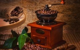 Обои стол, кофе, корица, листики, зёрна, мешочек, кофемолка