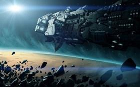 Картинка космос, корабль, планета, метеориты, космический, starship