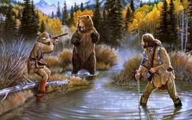 Обои осень, лес, проблема, озеро, ситуация, бухта, медведь