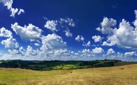 Картинка облака, поле, небо, сено