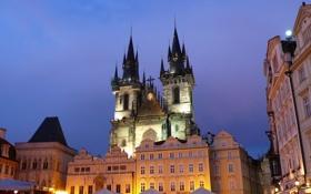 Картинка огни, дома, вечер, Прага, Чехия, площадь, центр
