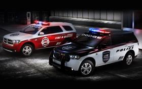 Обои Fire & Rescue, полиция, Police, полумрак, передок, dodge, дуранго