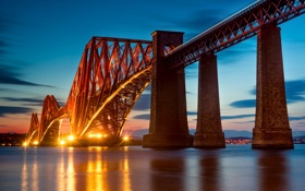 Картинка мост, город, огни, вечер, Шотландия, залив, Scotland