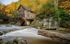 Обои США, камни, осень, лес, ручей, водяная мельница, Babcock State Park