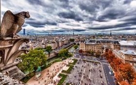 Картинка облака, осень, река, сена, Notre Dame, улица, Paris