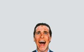 Обои кровь, Кристиан Бэйл, эмоция, Американский психопат, Патрик Бэйтмен, American Psycho