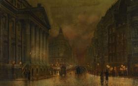 Обои город, люди, улица, дома, лондон, картина, колонны