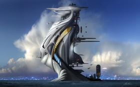 Обои море, облака, город, сооружение, лестница, футуризм