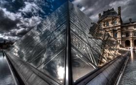 Обои париж, пирамида, Paris, франция, France, Louvre, pyramide