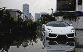 Картинка белый, небо, молния, Lamborghini, white, Gallardo, кабриолет