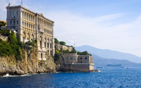 Картинка море, горы, скалы, побережье, здание, дома, музей