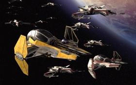 Обои робот, корабли, звёзды, войны, полёт, флот, звёздные