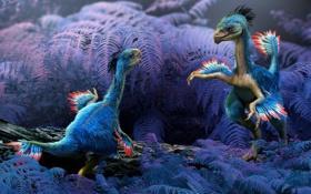 Обои листья, рендеринг, крылья, перья, арт, динозавры, бревно