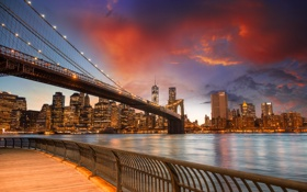 Обои закат, здания, США, sunset, new york city, united states, Ист-Ривер