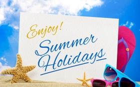 Обои пляж, лето, отдых, очки, summer, beach, каникулы