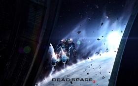 Картинка обломки, космос, полет, планеты, мужчина, Dead Space 3