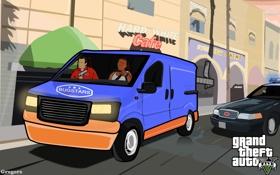 Обои gta5, тревор, майкл, фургон, грузовик