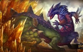 Обои хамелеон, ящерица, арт, heroes of newerth, basilisk