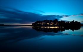 Картинка вода, острова, деревья, ночь, гладь, пейзажи, вечер