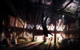 Обои темнота, арт, здание, The Last Of Us, концепт