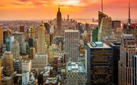 Обои закат, город, Нью-Йорк, USA, США, NYC, New York City