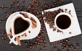 Обои кофе, зерна, чашка, heart, cup, beans, coffee