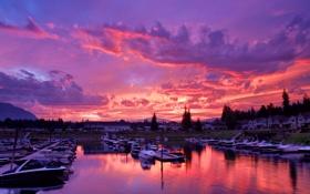 Картинка небо, облака, деревья, яхты, лодки, Канада, зарево