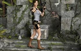 Обои грудь, девушка, пистолеты, шорты, динозавр, руины, lara croft