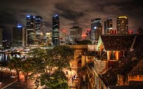 Картинка ночь, дома, Австралия, Сидней, архитектура, night, высотки