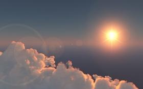 Обои солнце, облака, блики