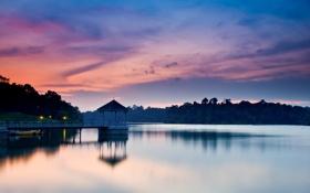 Картинка вода, закат, огни, озеро, пристань, вечер