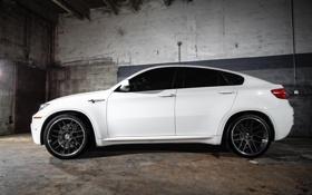 Обои x6m, wheels, bmw, white, бмв, профиль, кроссовер