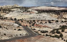 Картинка desert, hills, highway