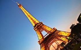 Обои огни, Франция, Париж, Эйфелева башня, Paris, France