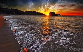 Картинка Закат, Вода, Море, Пляж, Пена